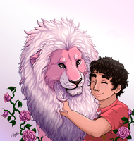 Steven and Lion by Limlugon
