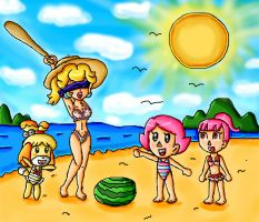 peach in animal crossing beach by ninpeachlover