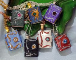 Polymer Clay Mini Book Pendants 3 by JSmallDragon