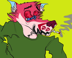 pink fox smoking weed by drearyyj