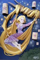 rapunzel in paper cutting by RaphaelOda