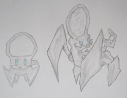 Fakemon- Flector and Mirroar by PJ-Graphix