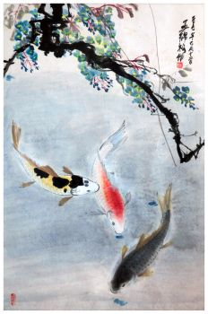 Koi fish in pond by tboonip1
