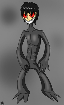 Creepy monster with a human face and demonic eyes by DrawnGuy