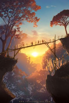 Forest of Liars : Sunset on the wood bridge by Tohad