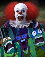 Pennywise scares Leo, Mikey and April by Negaboss2000