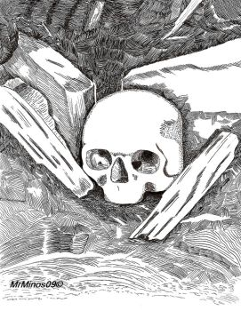 Pen and Ink Skull by MrMinos