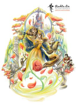 Beauty and The Beast : Belle and Beast by Rachta