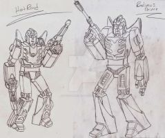 Masterpiece/Ultimate Hot Rod and Rodimus Prime by UnicronHound