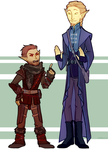 Tall altmer and short bosmer by Topazice
