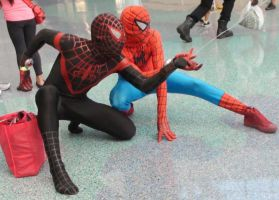 Black and Red Spider-Man shot web at Comikaze by trivto