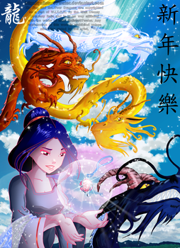 The Nymph and the Four Dragons by Galistar07water