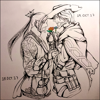 Inktober D18 and 19: Morning Glory and Begonia by Chiralou