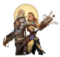 Geralt and Aloy: a tribute to CD Project Red by telpenar