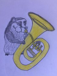 Gupta playing the Tuba by puffedcheekedblower