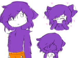 purple wolf doodles by aki-the-infectedtuby