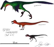 Baby Theropods 1/2 by Dennonyx