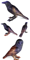 Dusky Sky Crows and Owls by emilySculpts