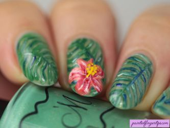 Tropical-flower-nail-art by Painted-Fingertips