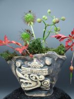 Aztec Windlord Ehecatl Kusamono Display Pot by FireVerseCeramics