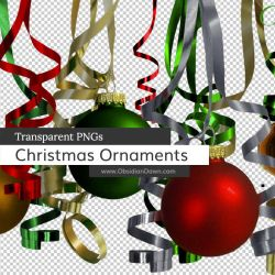 Christmas Ornaments n Ribbons PNGs by redheadstock