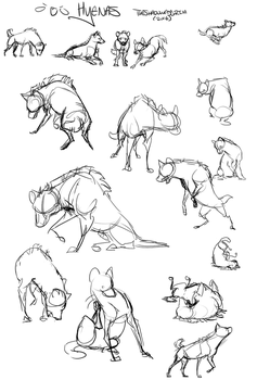 Hyena Sketches - Free poses by TheShadowedGrim