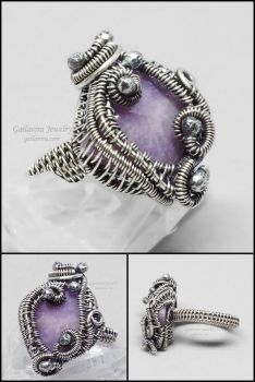 Sterling Silver and Purple Quartz Ring by Gailavira