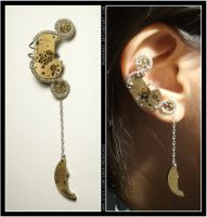 Steampunk Crescent Moon ear cuff by Meowchee