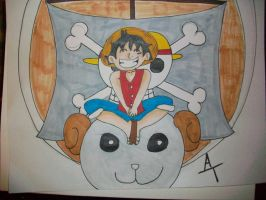 Luffy and Merry by bulmabriefs1313303