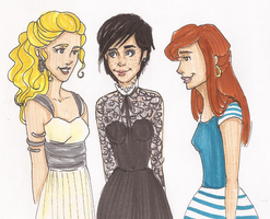 Annabeth, Thalia and Rachel by lalenca