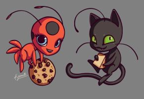 Tikki and Plagg by keinneb