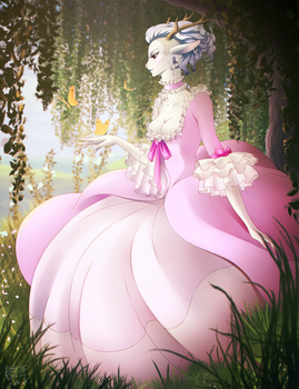 COLLAB: White deer by Dannyckoo