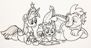 Inktober 2018 - Reading with Flurry by AleximusPrime