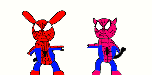 Oswald and Ortensia as Spider Man and Girl by TheCartoonWizard