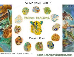 2018 Zodiac Dragons Enamel Pins by The-SixthLeafClover