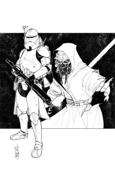 Commanders and Generals: Wolffe and Plo Koon Inks by Hodges-Art