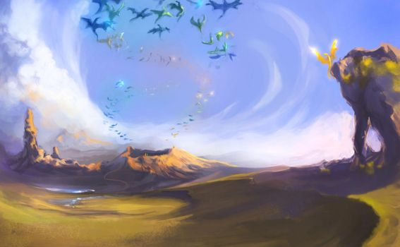in the sky over the Weyr by NikaTheDragon