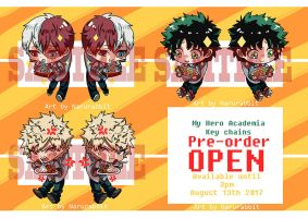 BNHA/ MHA Key chains Pre-order: August 13th 2017 by rabbittheking