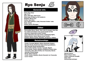 Naruto Shippuden OC: Ryo Senju reference sheet by CheshireCat2186