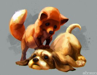 The Fox and the Hound by akreon
