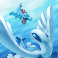 Totodile vs. Lugia -clean- by silverava