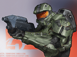 Master Chief with Speed Painting by BonnyJohn