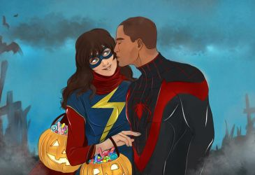 Miss Marvel and Spider Man commission by Everybery