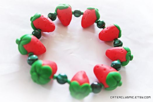 Strawberry Charm Bracelet by Cateaclysmic