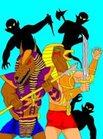 Anubis and Horus against shadow demons by GalaxyZento