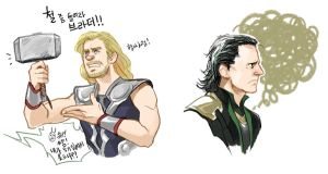 Thor and Loki by Hallpen