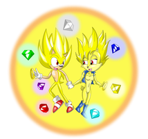 Super Sonic and Super Sally by SSJCyberSonic