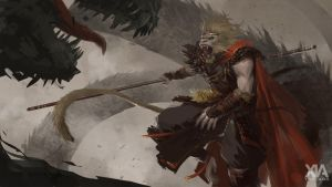 Monkey King vs dragon by XiaTaptara
