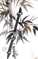 Sumie bamboo (etegami) [revisited] by bsshka