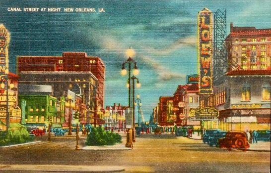 Night Scene Postcards - Canal St. New Orleans by Yesterdays-Paper